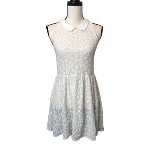 Free People Ivory Floral Mesh Lace Dress XS